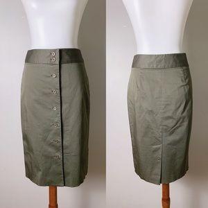 BROOKS BROTHERS Button Front Sateen Midi Skirt